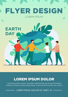 People walking around globe and holding each other by hands flat vector illustration. tiny people saving world ecology. big planet. earth day environment saving and nature care concept