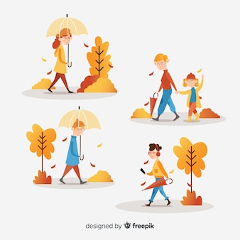People walking in autumn collectio