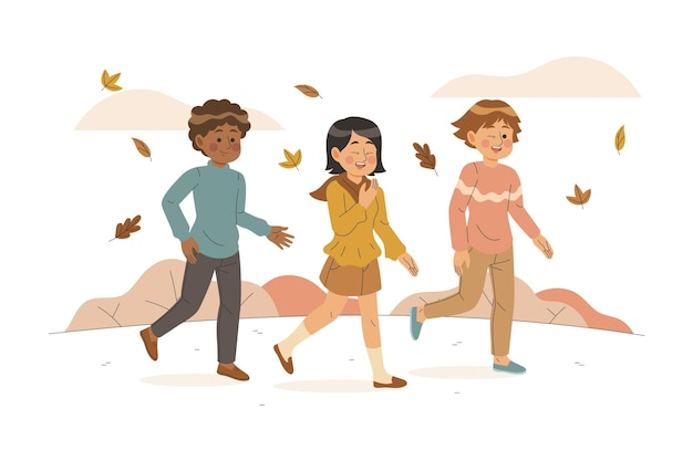 People walking in autumn concept