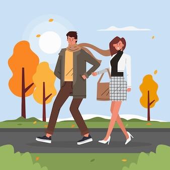 People walking in autumn