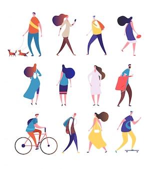 걷는 사람들. 만화 사람이 거리를 걷습니다. 남자와 여자 군중 모음