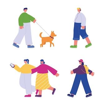 歩いている人、スマートフォンのバックパックと犬のキャラクター