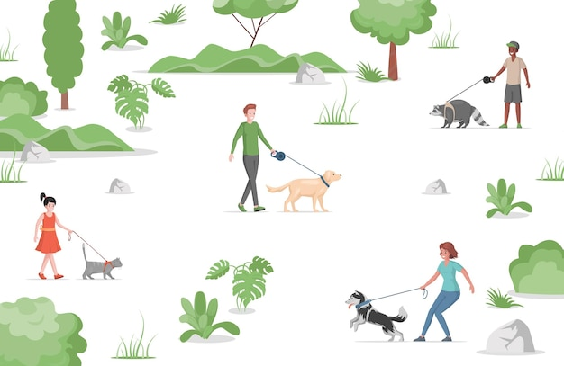 People walking in city park with domestic pets flat illustration.