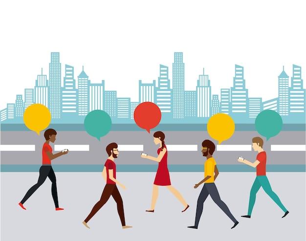 人々が歩くデザイン、ベクトルイラストeps10グラフィック