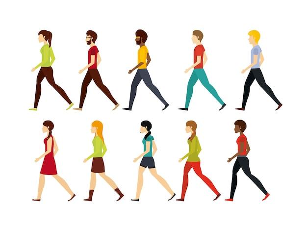 人々の歩行設計 Premiumベクター