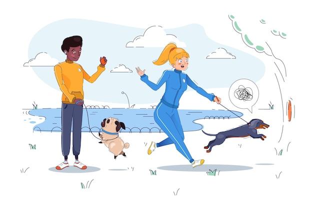 People walking the dog illustration