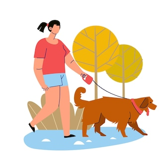 People walking the dog outdoors
