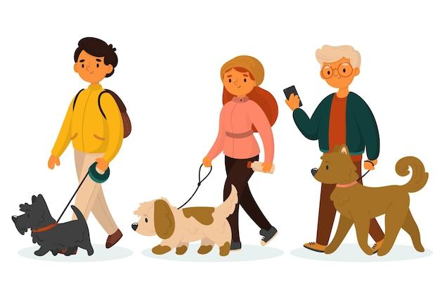 Persone che camminano con il branco