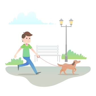 People walking the dog