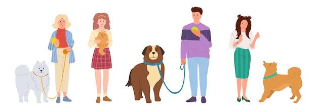 사람들이 걷는 개. 귀여운 애완 동물 평면 만화 세트입니다. 여자와 남자 강아지와 함께 연주입니다. 셰퍼드와 허스키, 스피츠 흰색 배경 일러스트 레이 션에 고립