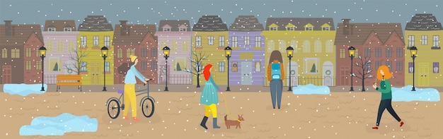 People walking first snow on streets of old town in winter,  illustration
