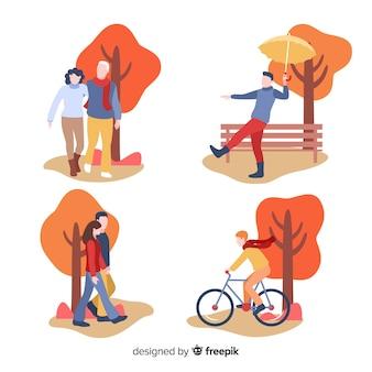 秋のコレクティブで歩く人