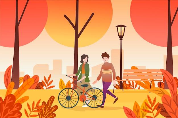 秋のデザインで歩く人
