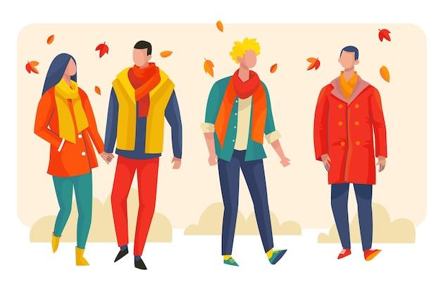 秋のイラストを歩く人