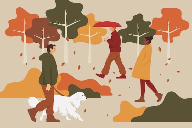秋の公園のイラストを歩く人