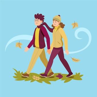 가을에 함께 걷는 사람들