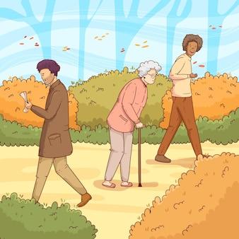 秋を歩く人