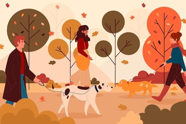 Люди, идущие осенью