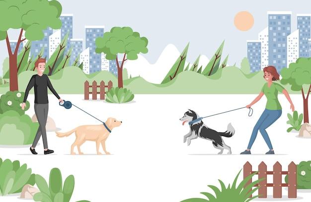 국내 애완 동물 평면 일러스트와 함께 도시 공원에서 산책하는 사람들.