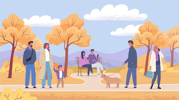 가을 도시 공원 풍경 그림에서 걷는 사람들