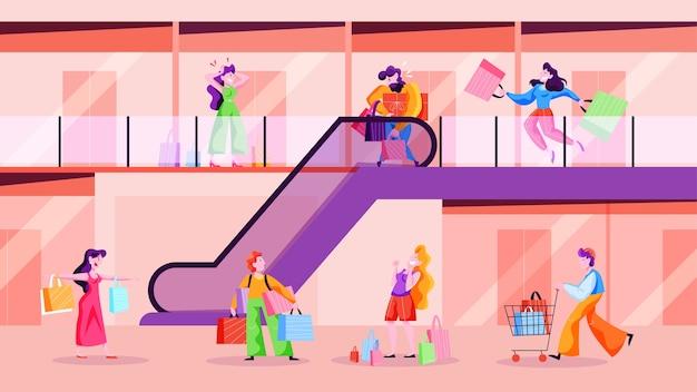 商店街を歩いている人。大きなショップセンター、買い物袋を持つ男性と女性の人。消費生活。漫画のスタイルのイラスト
