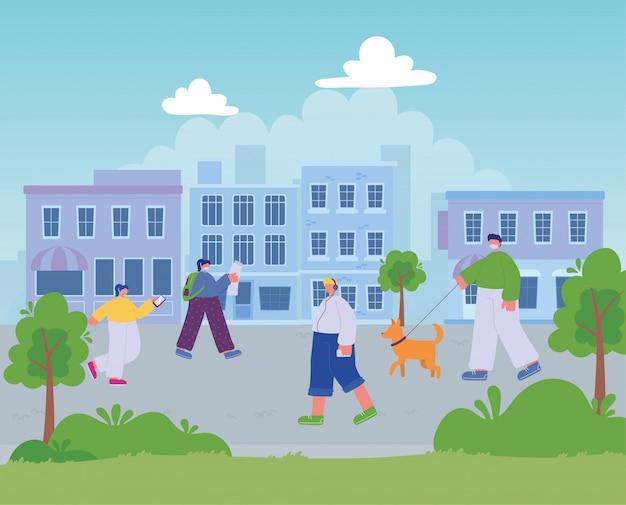 Люди, идущие по улице города, различные мероприятия городского