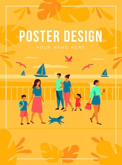 해변 부두를 걷는 사람들. 관광 캐릭터는 바다와 갈매기에서 보트를 감상하는 아이들과 함께 귀여운 커플입니다. 해변, 바다 개념에서 여름 휴가를위한 평면 그림