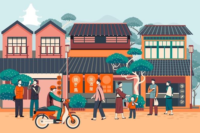 伝統的な通りを歩く人