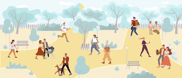 People walking in park enjoy outdoor active rest