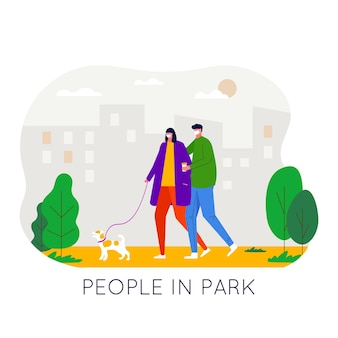 People walking in the park, wearing medical face mask to protect and prevent virus, air pollution.