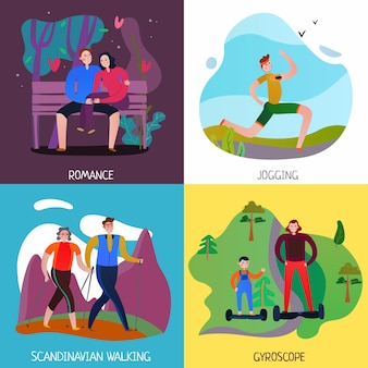 People walking and resting outdoors 2x2 flat design concept isolated vector illustration