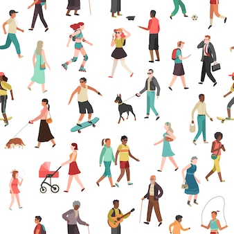 People walking seamless pattern. women men children group person walk city crowd family park outdoor activity
