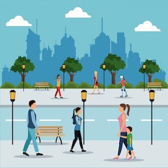 People walking in street city