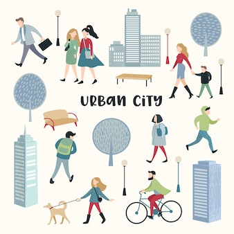 People walking on the street. urban city architecture. characters set with family, children, runner and bicycle rider.