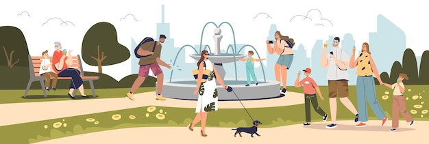 People walking in summer park with fountain over city buildings skyline. happy kids and adults, families spend time outdoors eating ice cream together. cartoon flat vector illustration