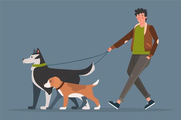 Люди гуляют с собакой