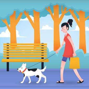 Люди, идущие собакой иллюстрации концепции