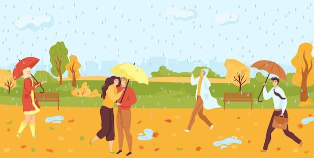 People walking under umbrellas in autumn raining park flat