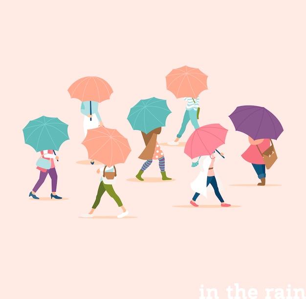 봄 비오는 날에 우산 아래 걷는 사람들. 현대 미니멀 스타일에 비가 오는 작은 사람들의 군중. 파스텔 색상.