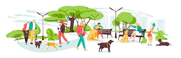 도시 공원에서 강아지와 함께 산책하는 사람들