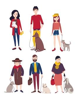 다른 품종의 개와 함께 걷는 사람들. 다채로운 평면 그림입니다.