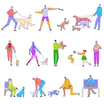 分離されたキャラクターラインアート動物イラストにペットと一緒に歩いている人。男、走っている女性、手をつないで、犬、猫、手のひら、棒、ボールを投げます。