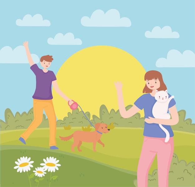 애완동물과 산책하는 사람들