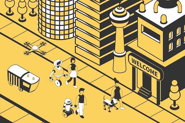 미래 아이소메트릭 도시의 거리를 따라 로봇과 함께 걷는 사람들
