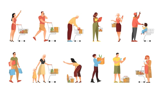 People walking with shopping cart in supermarket set. character with basket in the store.    illustration
