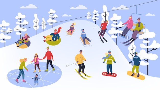 People in warm clothes doing winter activities.  illustration of people in ski, snowboard, skate and sled. outdoor winter activity with family.   illustration
