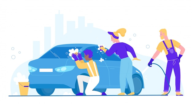 People wash car illustration. cartoon flat woman man washer characters cleaning dirty automobile, washing auto with sponge and soap bubble. carwash business service station isolated