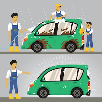 People washing car illustration