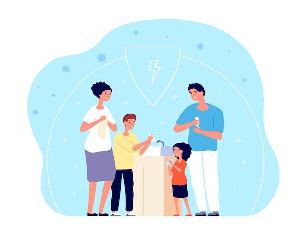 손을 씻는 사람들. 어린이 위생, 가족은 물, 비누 또는 살균제로 손을 청소합니다. 세균 또는 코로나바이러스 예방 벡터 삽화. 가족은 욕실에서 손을 씻고, 아이가 있는 부모