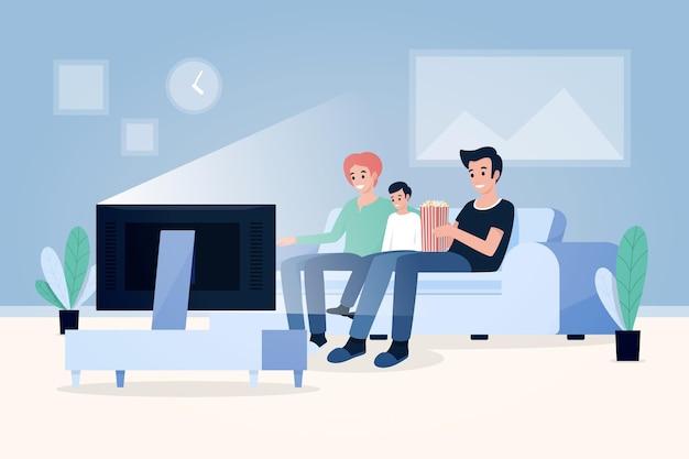 Люди смотрят фильм дома
